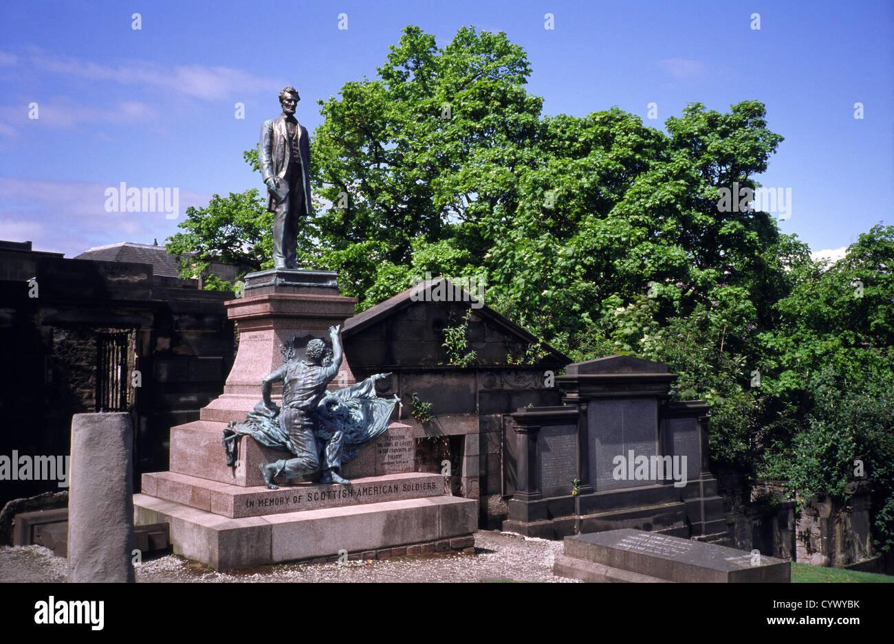 American Civil War Memorial or Scottish-American Soldiers Monument, Old Calton Burial Ground, Edinburgh, Scotland, Stock Photo