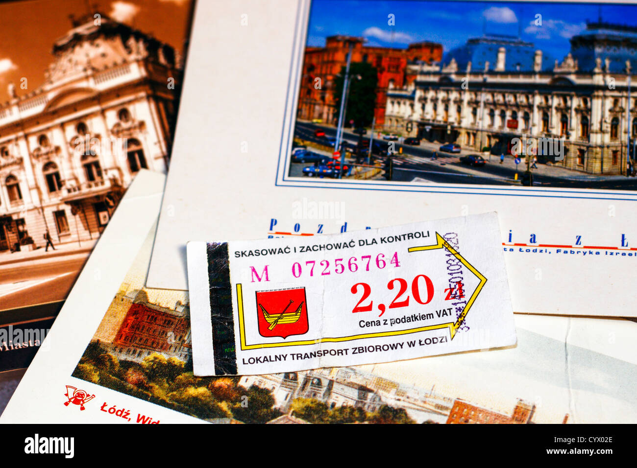 Polish tramway ticket and Lodz postcards - Stock Image