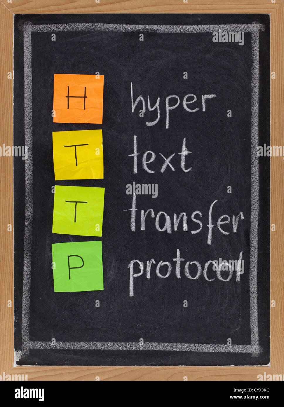 http (hyper text transfer protocol) acronym explained on blackboard, color sticky notes and white chalk handwriting - Stock Image