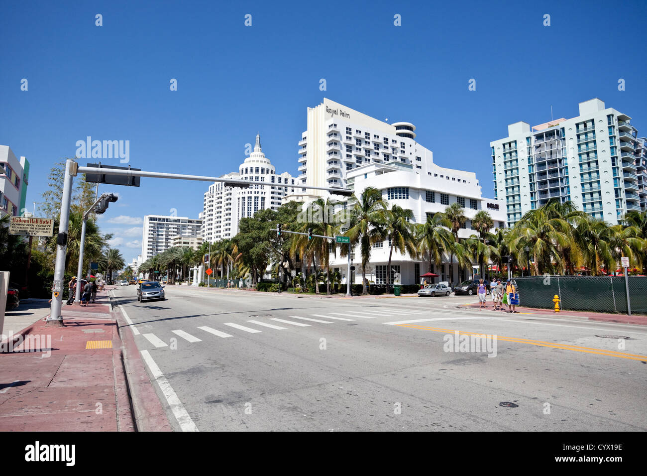 Art deco District, Collins Avenue, South Beach, Miami Beach, Florida, USA - Stock Image
