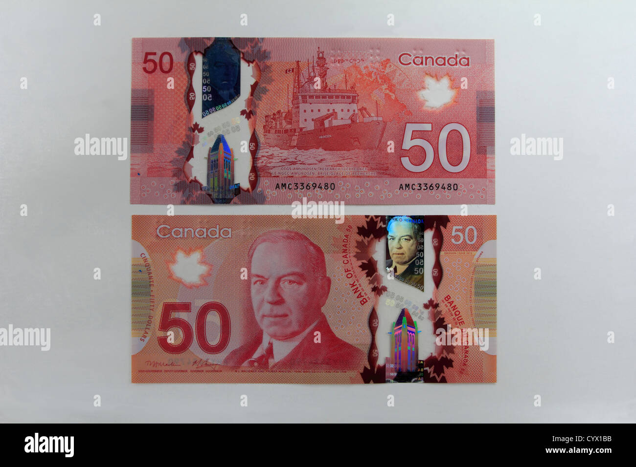 Canada's Canadian polymer plastic 50 dollar bill cash money currency showing both sides - Stock Image