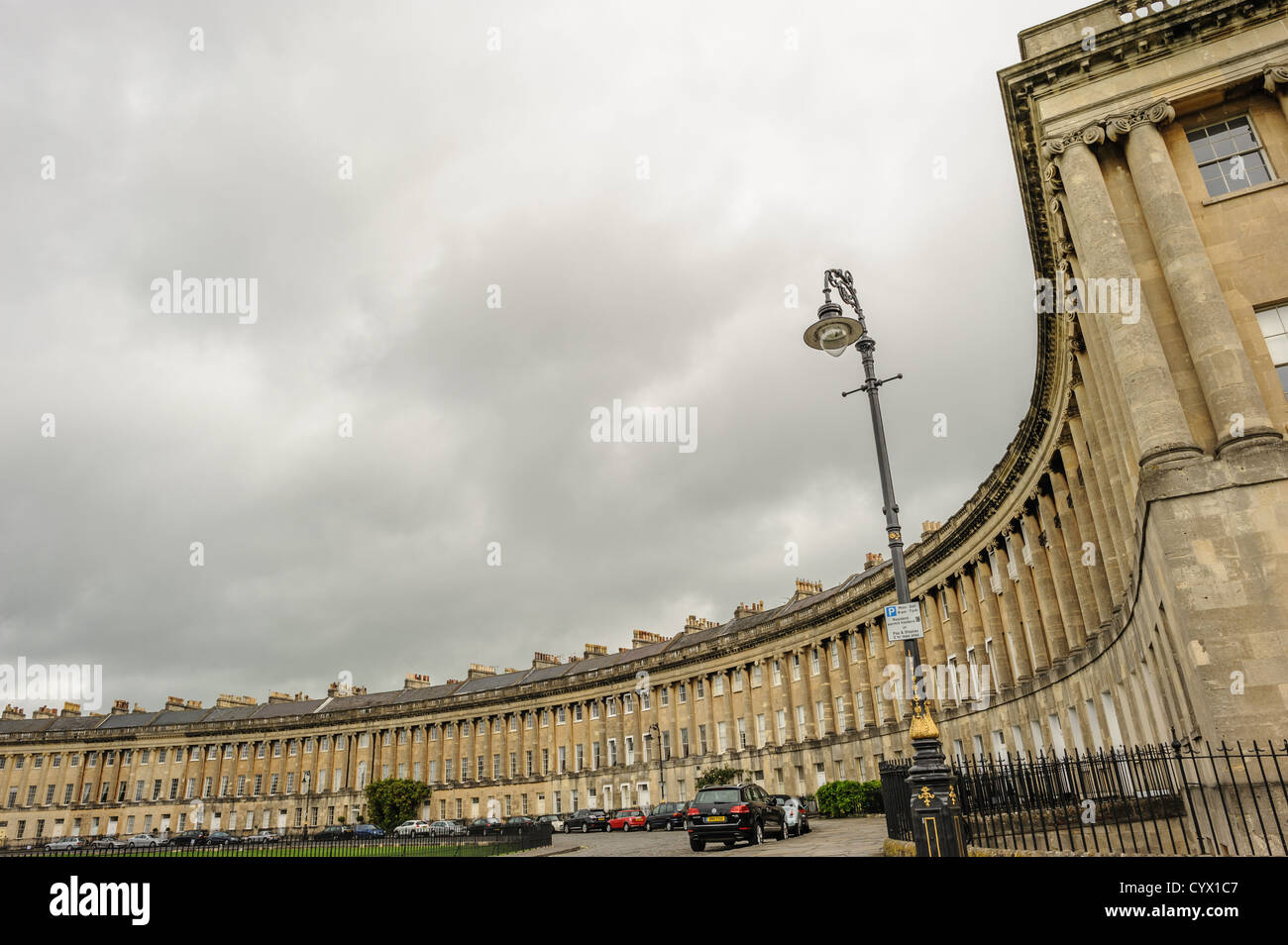 BATH, UK - The houses of Royal Cresent. The Royal Crescent is a street of 30 terraced houses laid out in a sweeping - Stock Image