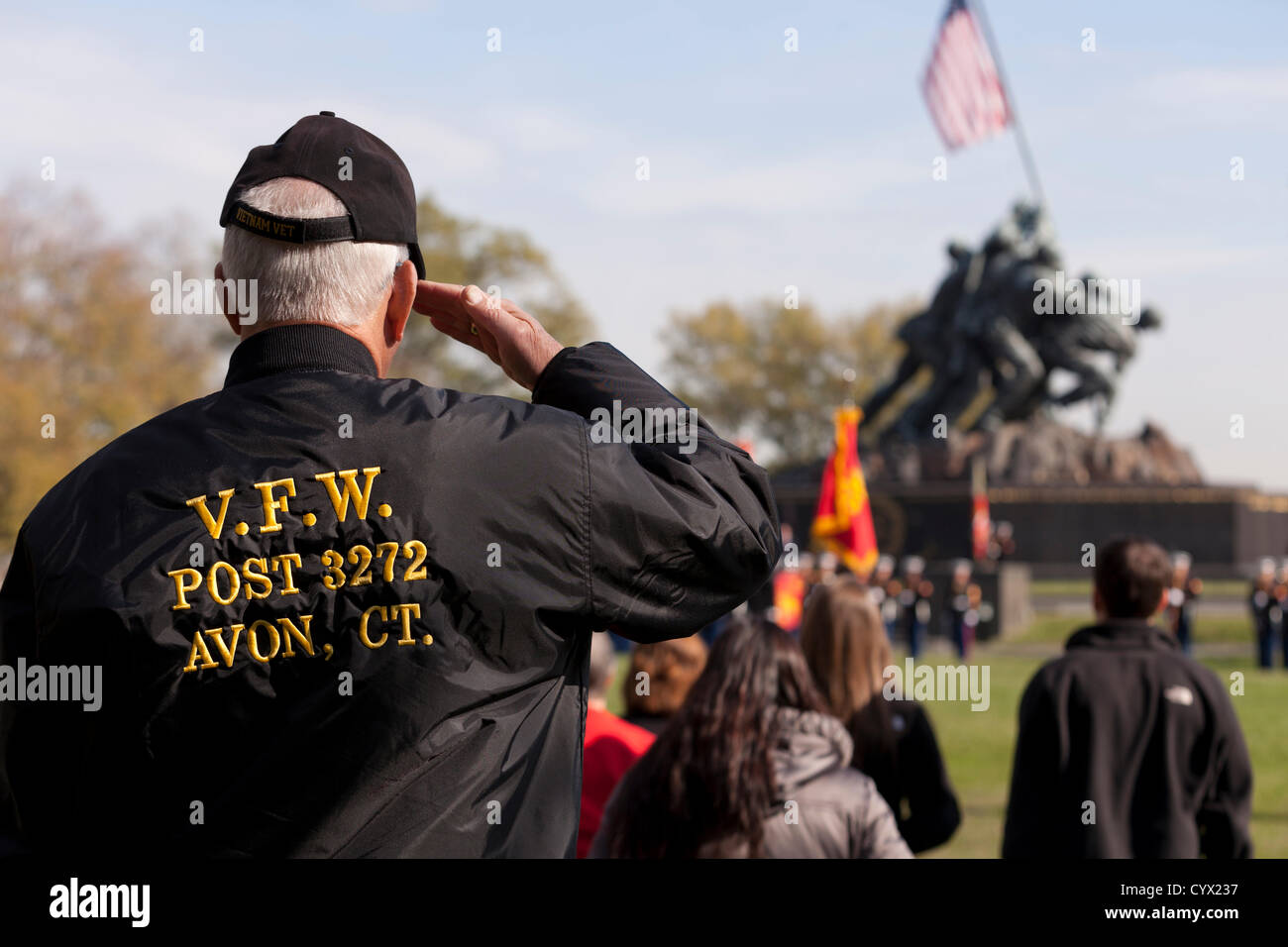 November 10, 2012: During the Veterans Day celebrations, a US Marine Corps veteran salutes the flag in front of - Stock Image