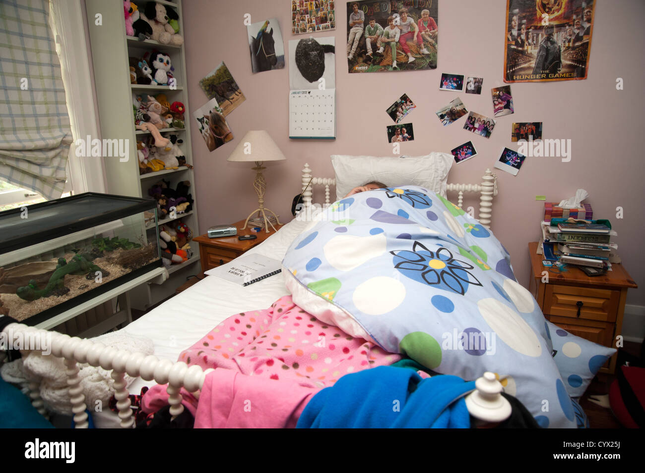image teenagers bedroom teenagers bedroom with posters and stuffed animals unmade bed teenager in it