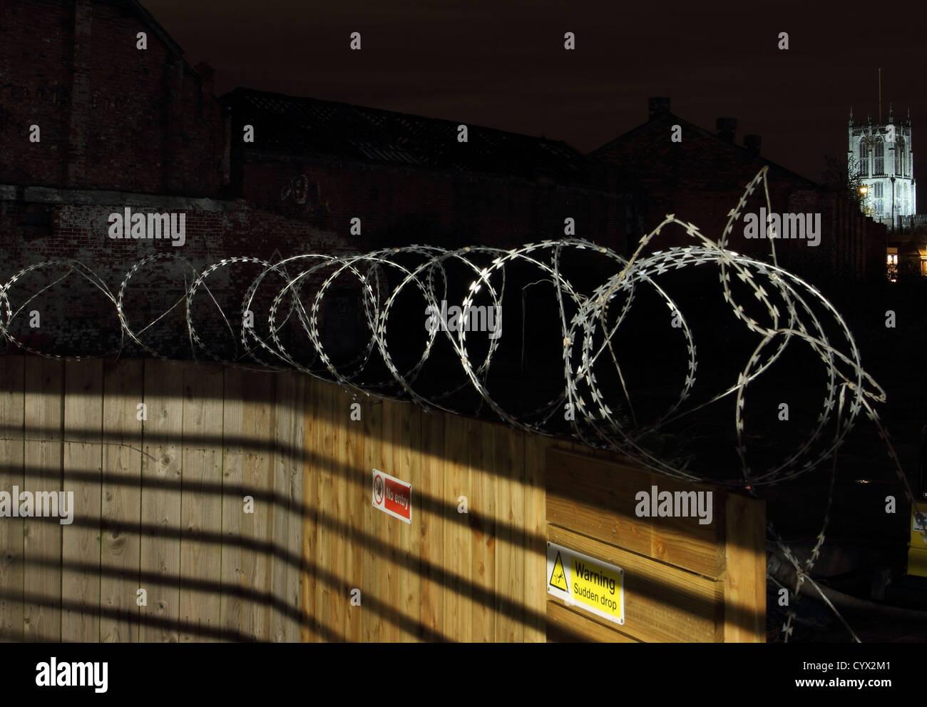 a razor wire fence - Stock Image