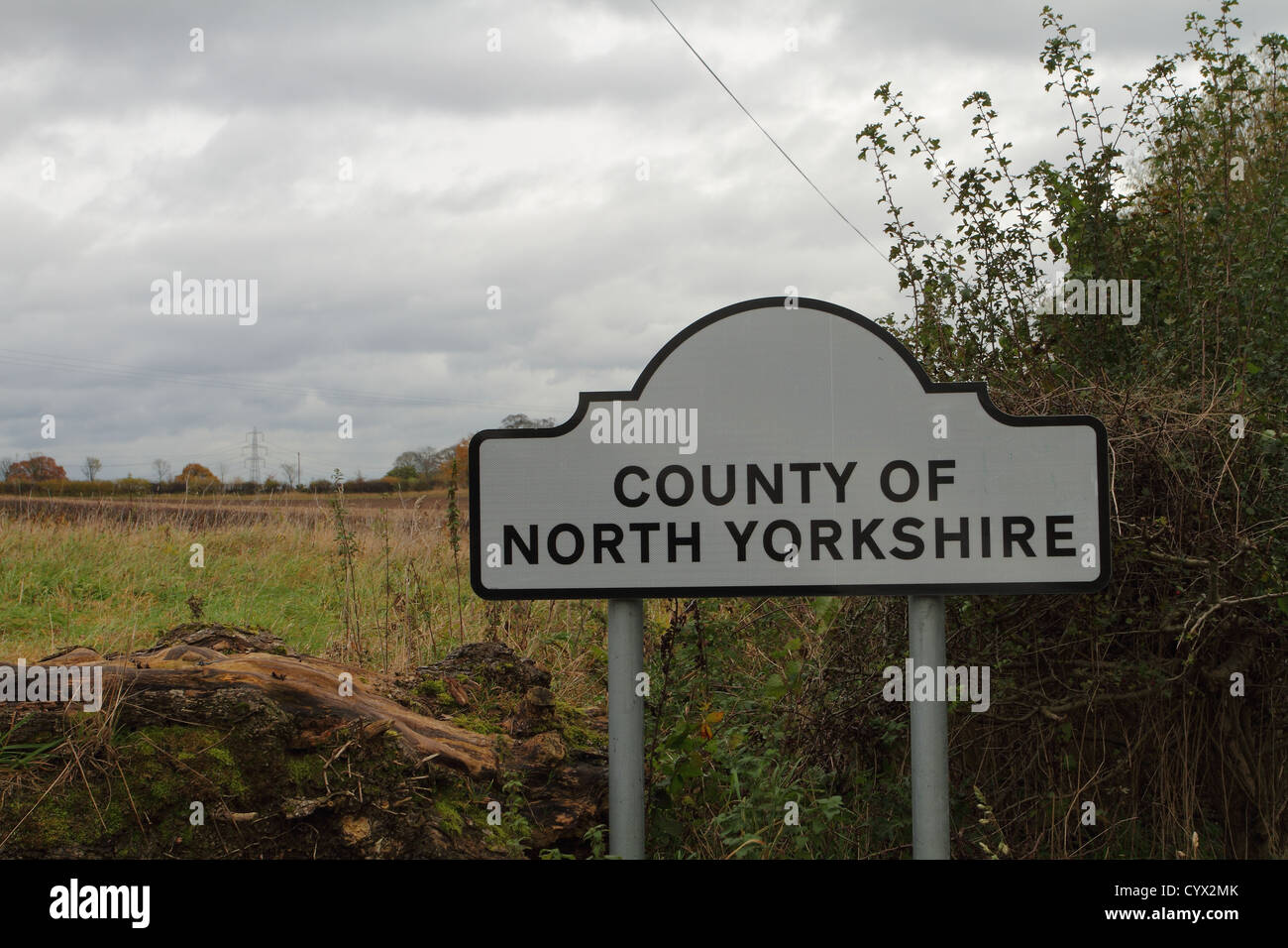 county of north yorkshire boundary sign - Stock Image