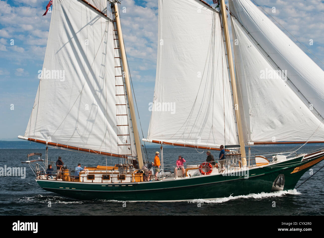 Classic Wooden Sailboats Converge On The Historic City Of Port Stock