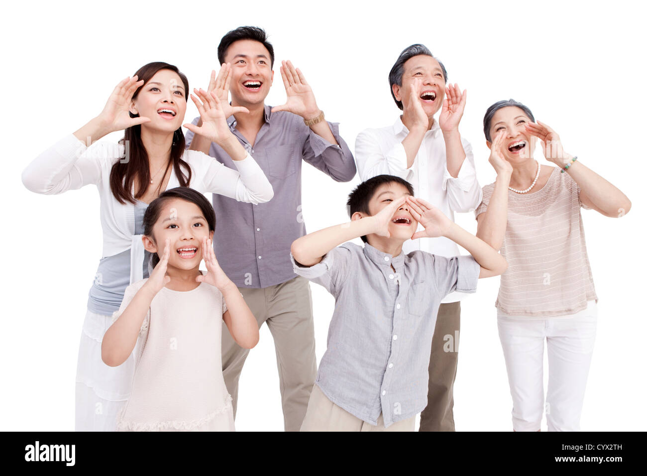 Family shouting loudly - Stock Image
