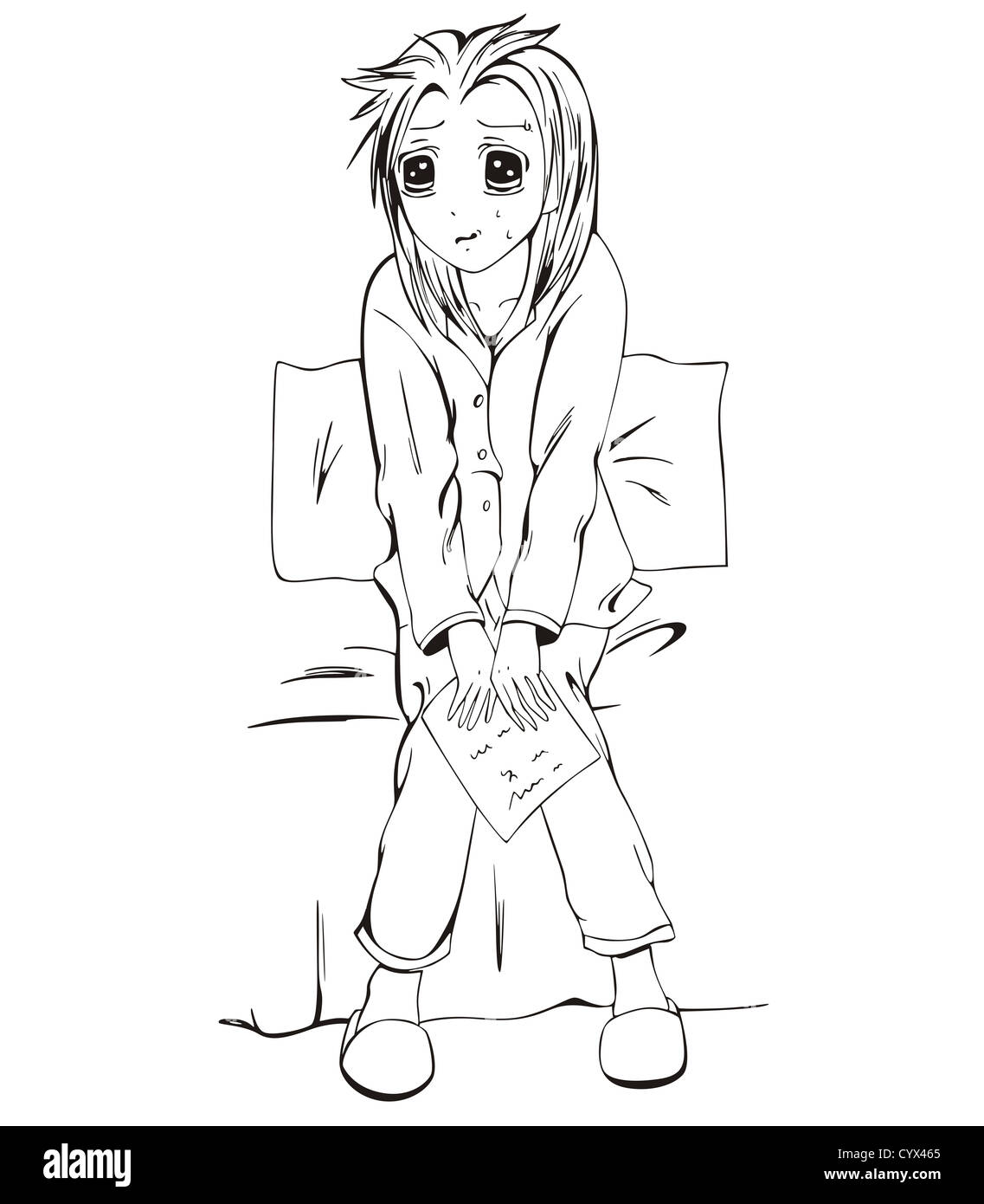 Sad anime girl siting on bed with letter black and white vector illustration