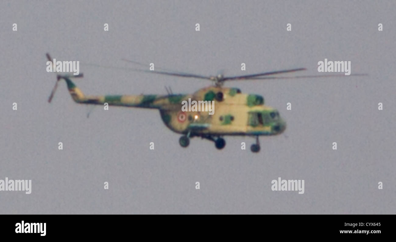 military helicopter departs the Aleppo International Airport during the Eid Al Adah holiday. The regime uses the - Stock Image