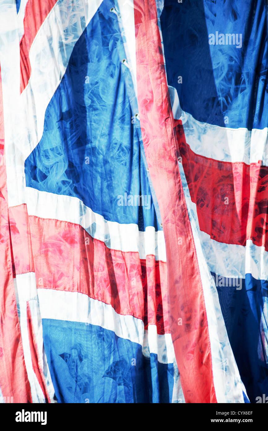 Stylised abstract of union jack flags. London, England, UK - Stock Image