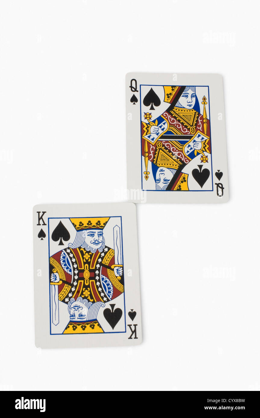 Close Up Of King Of Spades And Queen Of Spades Playing Cards Stock