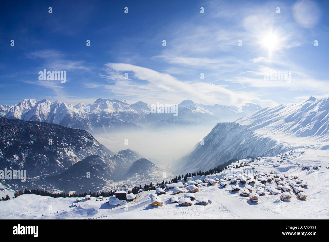 Aerial view over the Swiss village of Bel Alp and the high mountains of the Wallis (Valais) region - Stock Image
