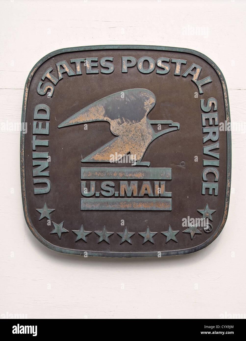 United states postal service - US mail bronze sign - Stock Image