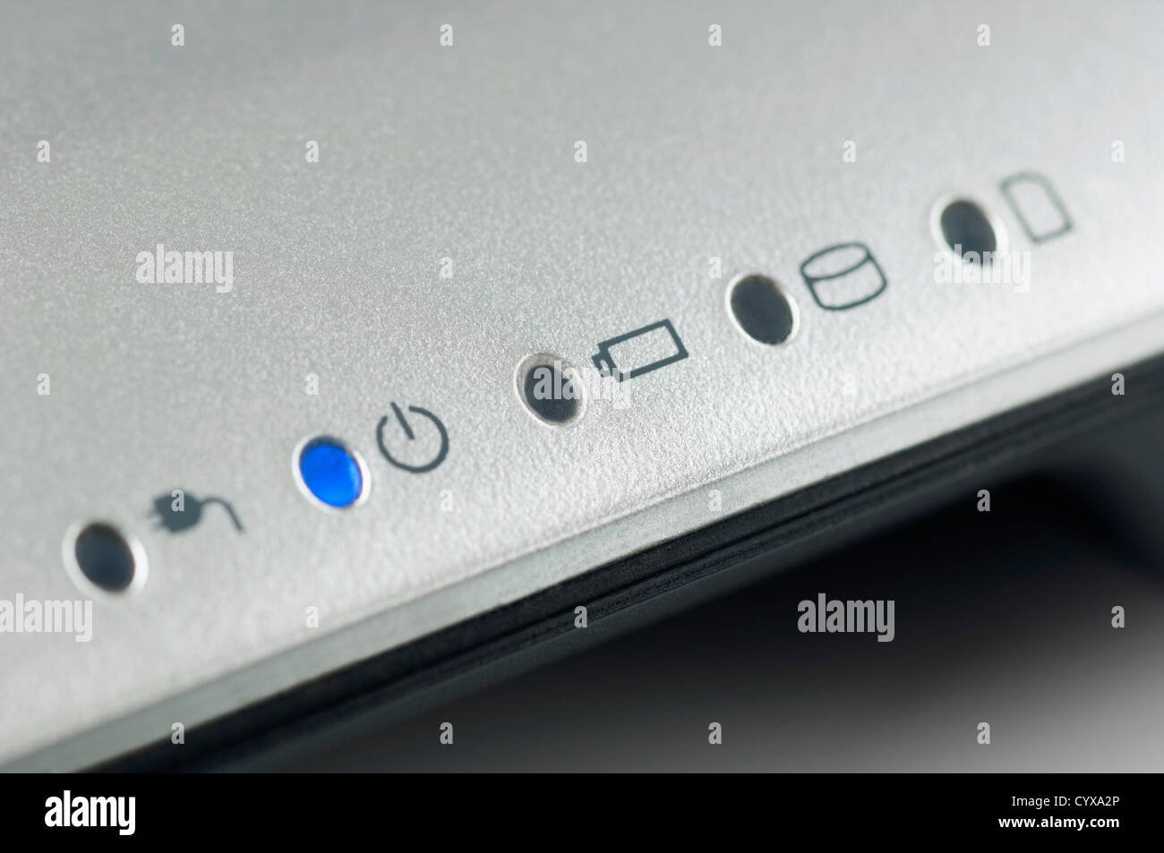 Close-up of indicators of a laptop - Stock Image
