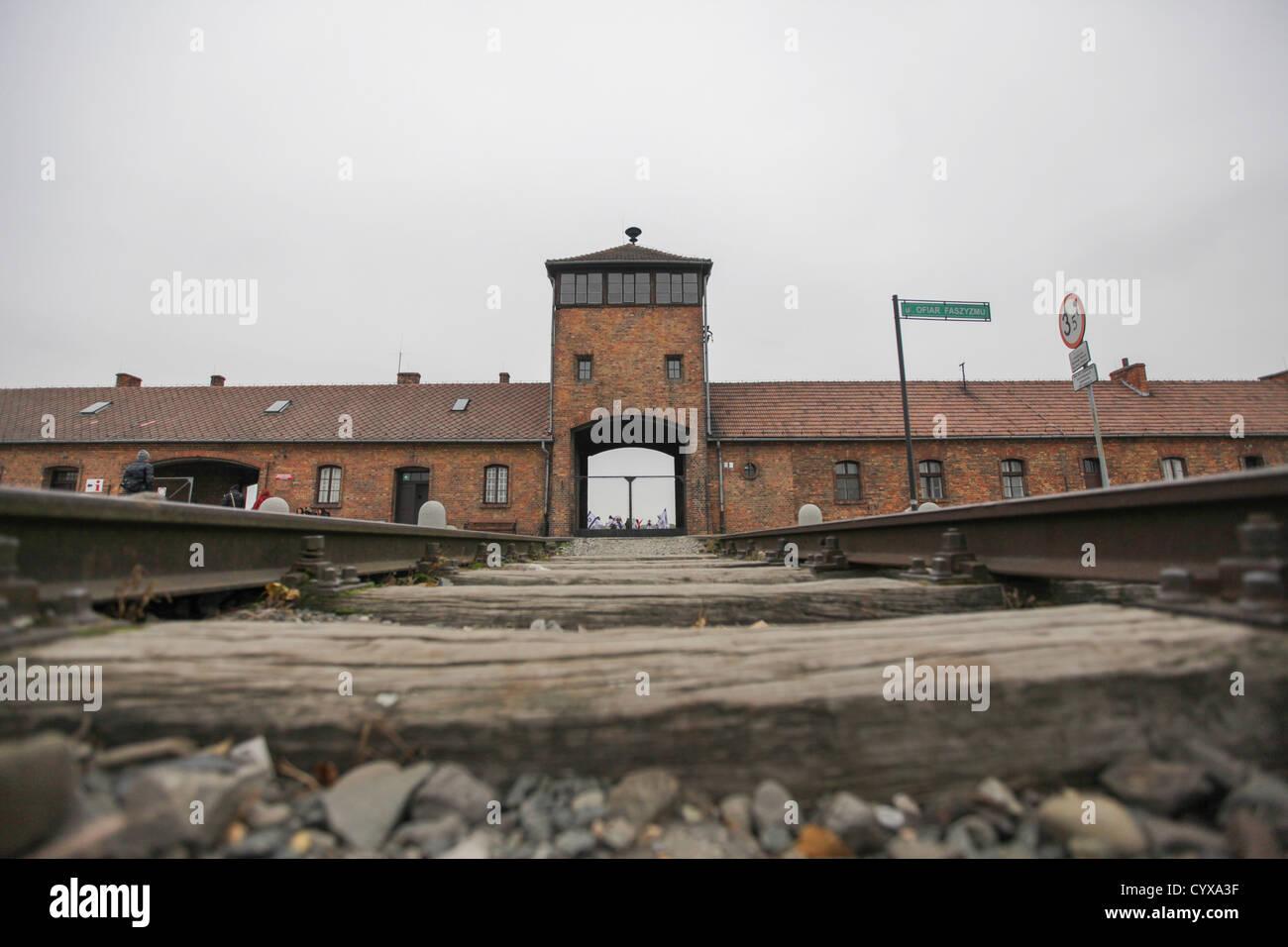 Nazi Auschwitz Extermination Camp, Poland. The railway tracks - Stock Image