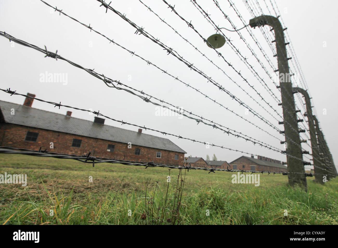 Nazi Auschwitz Extermination Camp, Poland. Barbed Wirs fences - Stock Image