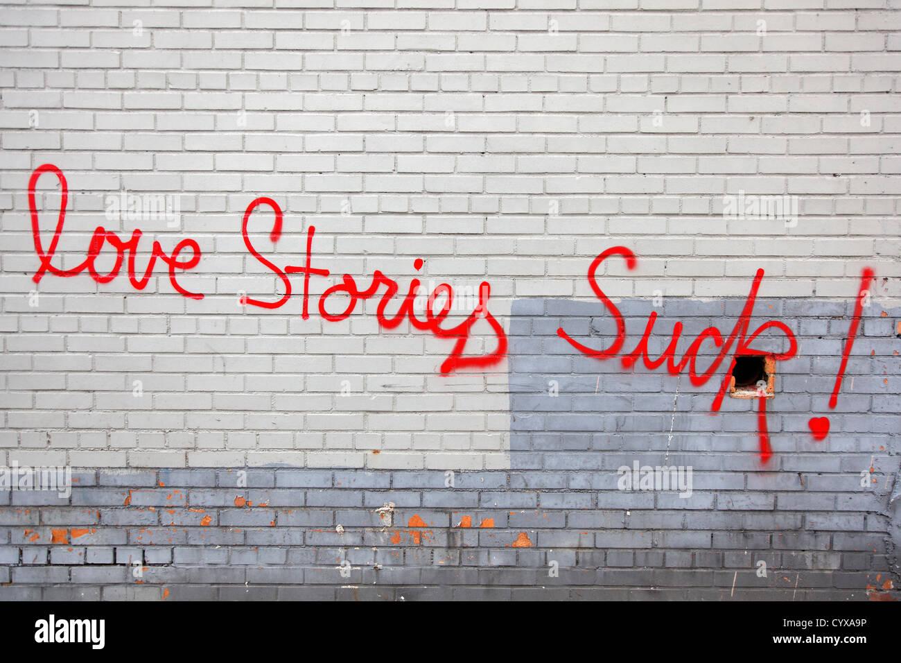 USA, New York, Text on brick wall - Stock Image