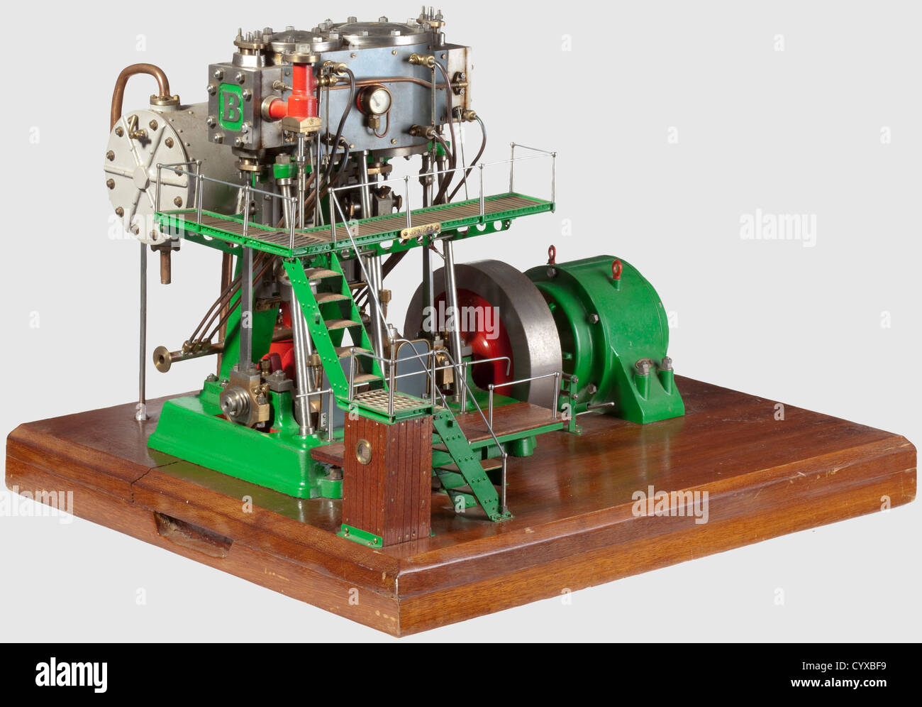 A fine and rare model twin cylinder compound vertical condensing generating set, Built by J. Nichols Gloucester - Stock Image