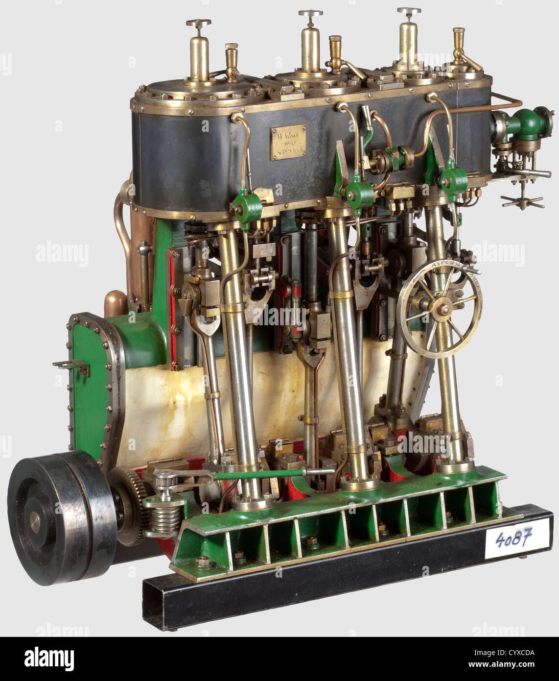 A very well detailed model triple expansion vertical reversing condensing marine engine, Built by H. Wall 1970 ¦S.D.S.M.E Stock Photo