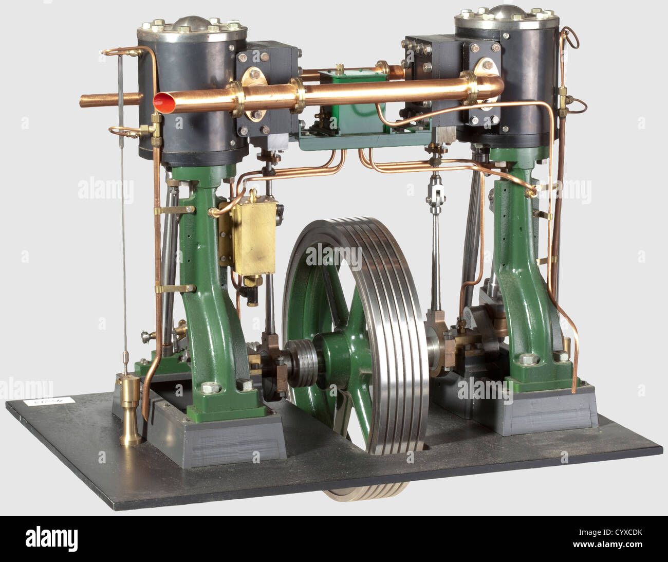 A finely engineered and well presented model twin vertical cylinder stationary engine, Comprising two Stuart No - Stock Image