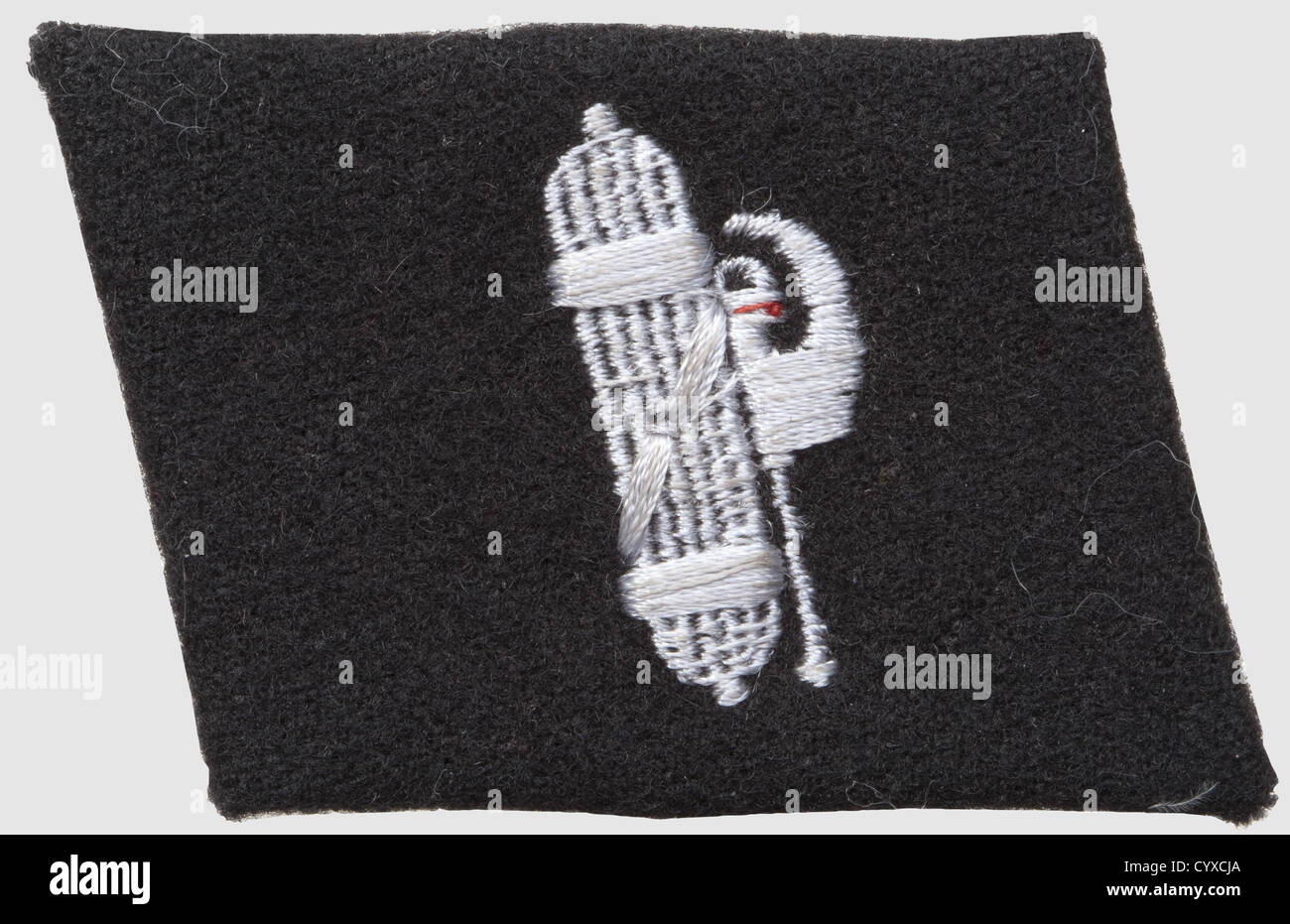 Collar patch for the 29th SS-division 'italienische Nr.1', since 1944, of black wool with RZM-machine-embroidered - Stock Image