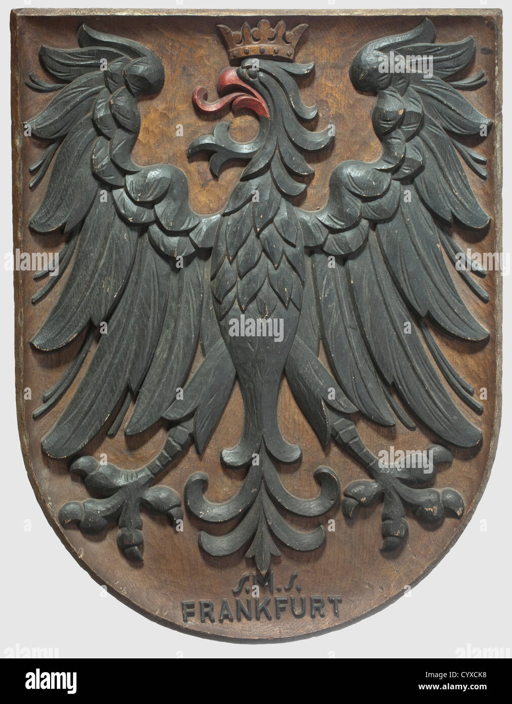 A German presentation shield from the S.M.S. Frankfurt, circa 1915 - 1918 Crowned eagle of the Frankfurt coat of - Stock Image
