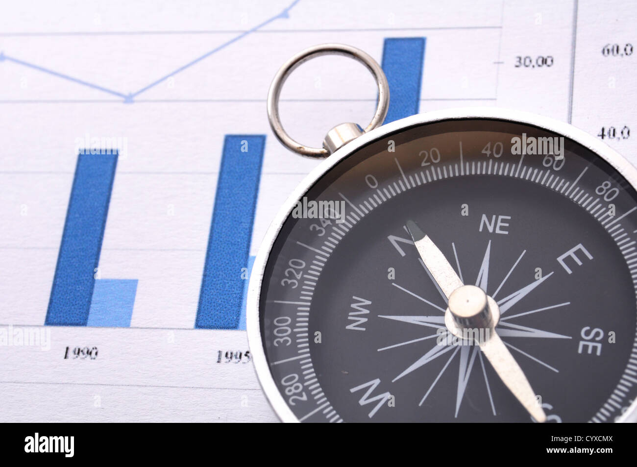 business concept with compass and diagram or chart - Stock Image