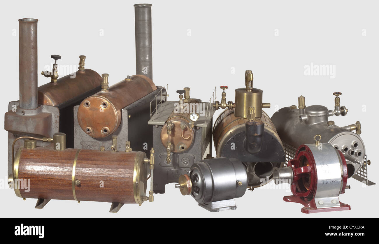 A collection of model steam boilers of various types, including an ...