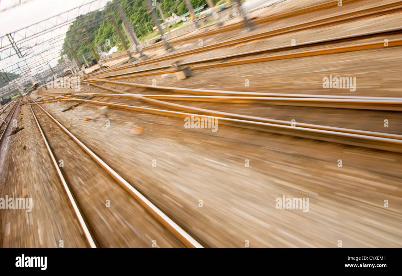 It is railway track with high speed motion blur. - Stock Image