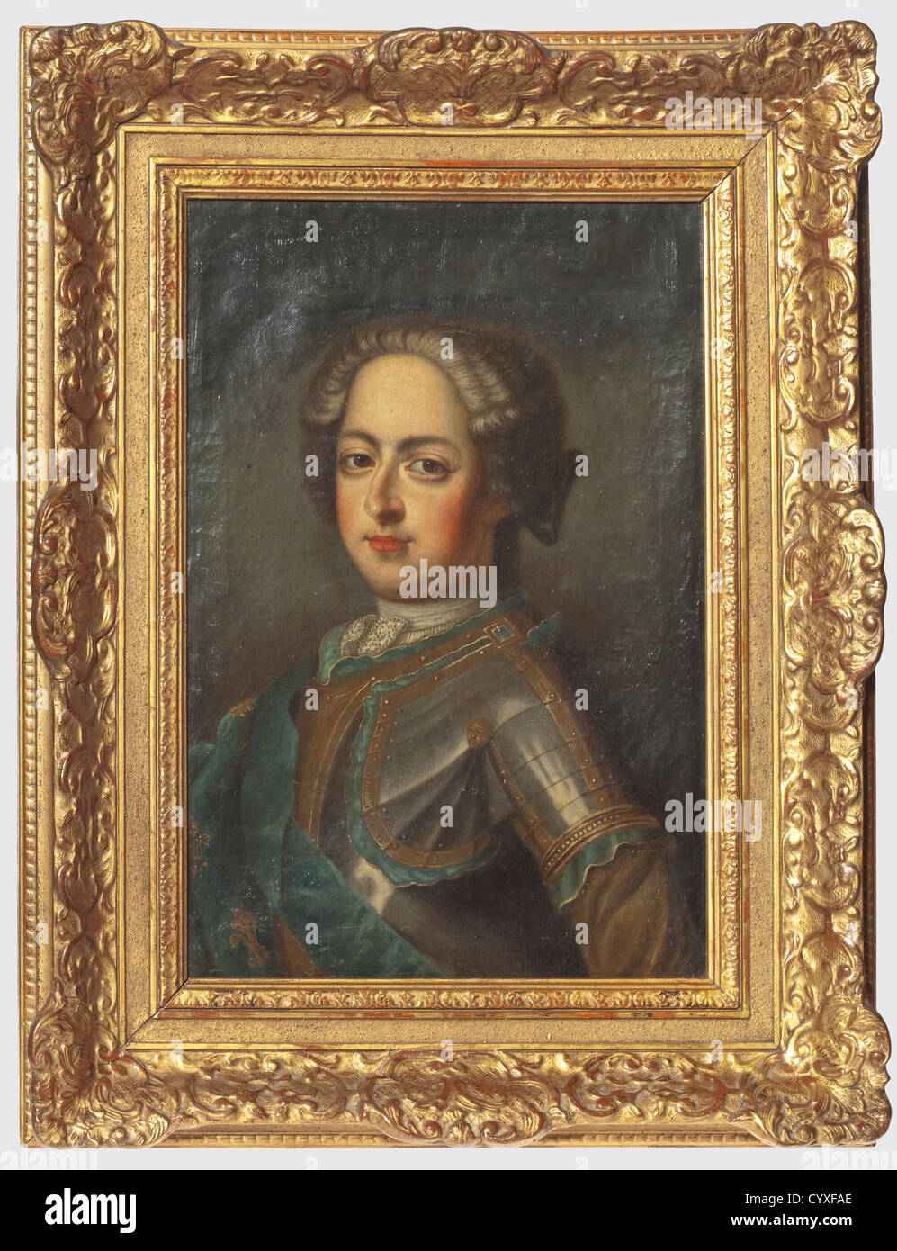 A French baroque portrait of an aristocrat, circa 1740 Oil on canvas (not doubled), old frame. Finely painted male - Stock Image