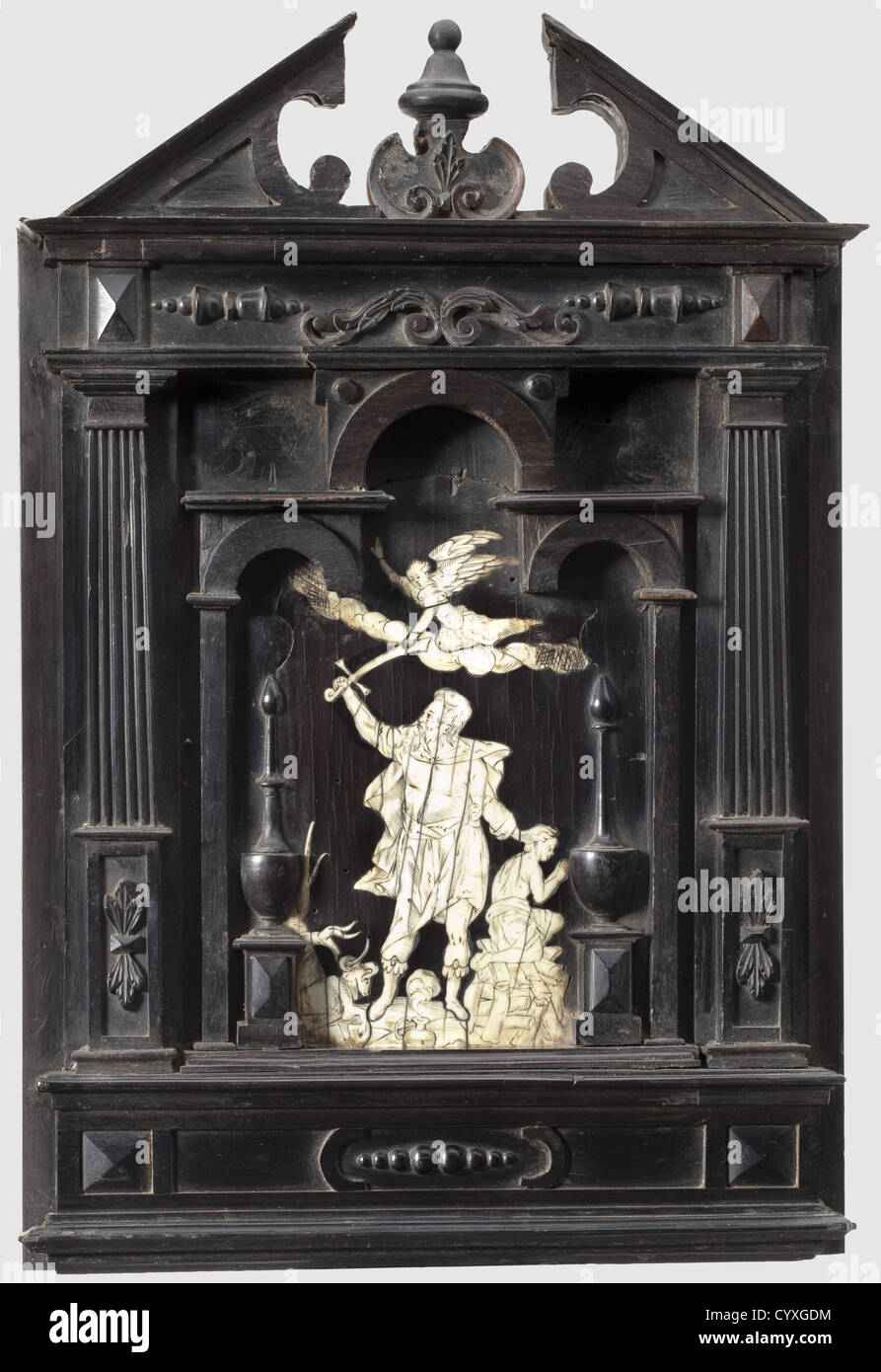 A Flemish or French panel depicting the sacrifice of Isaac, first half 17th century Softwood panel with ebony veneer. - Stock Image