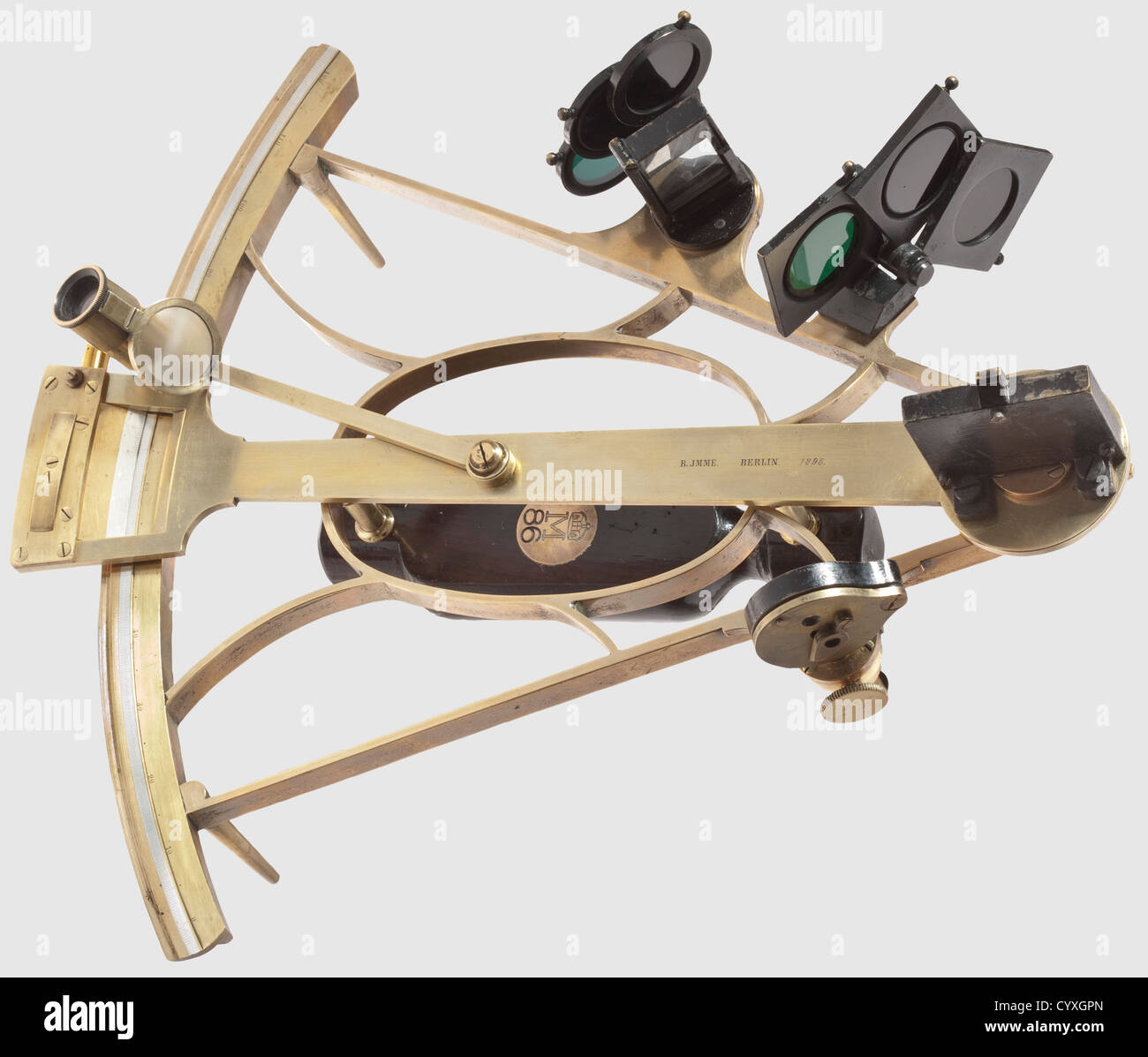 A sextant, of the Prussian royal navy Early precision instrument made of solid polished brass with swivelling mirror, - Stock Image