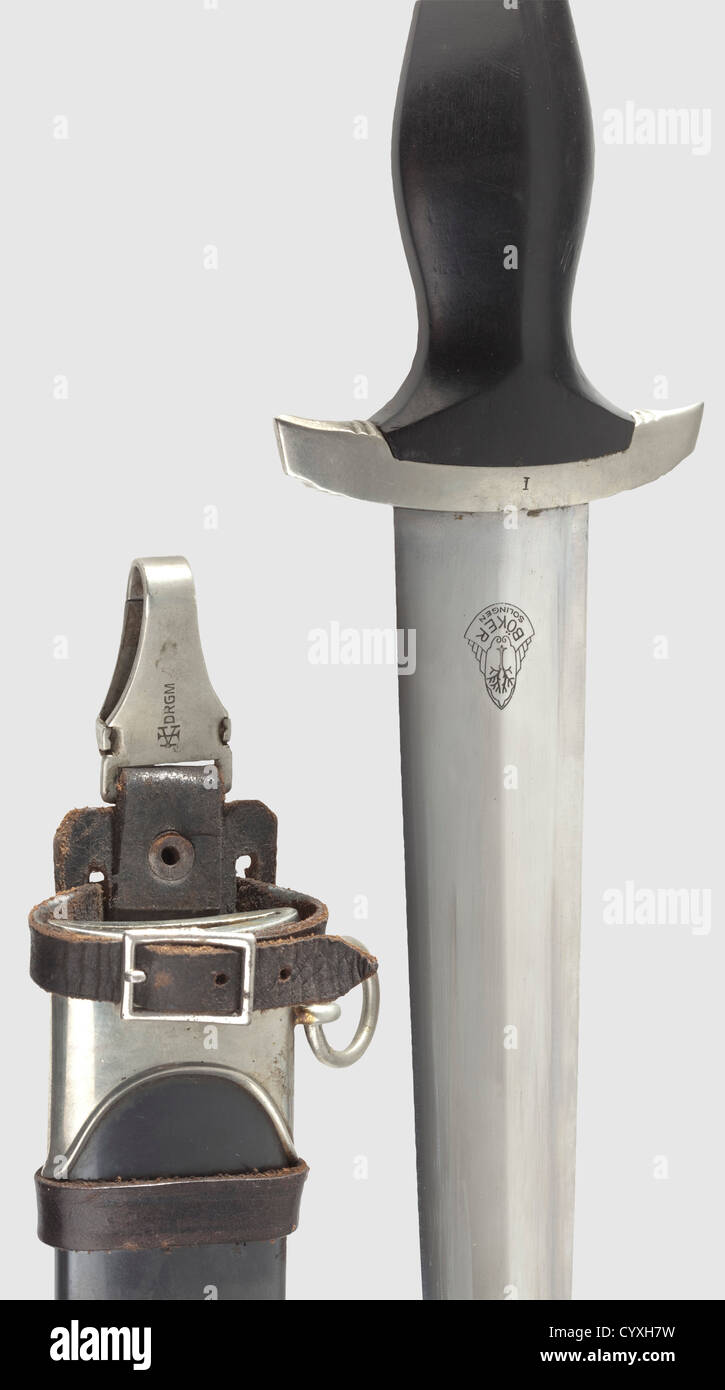 An SS service dagger M 1933 with vertical hanger, maker Böker, Solingen Outstandingly well-preserved blade, - Stock Image