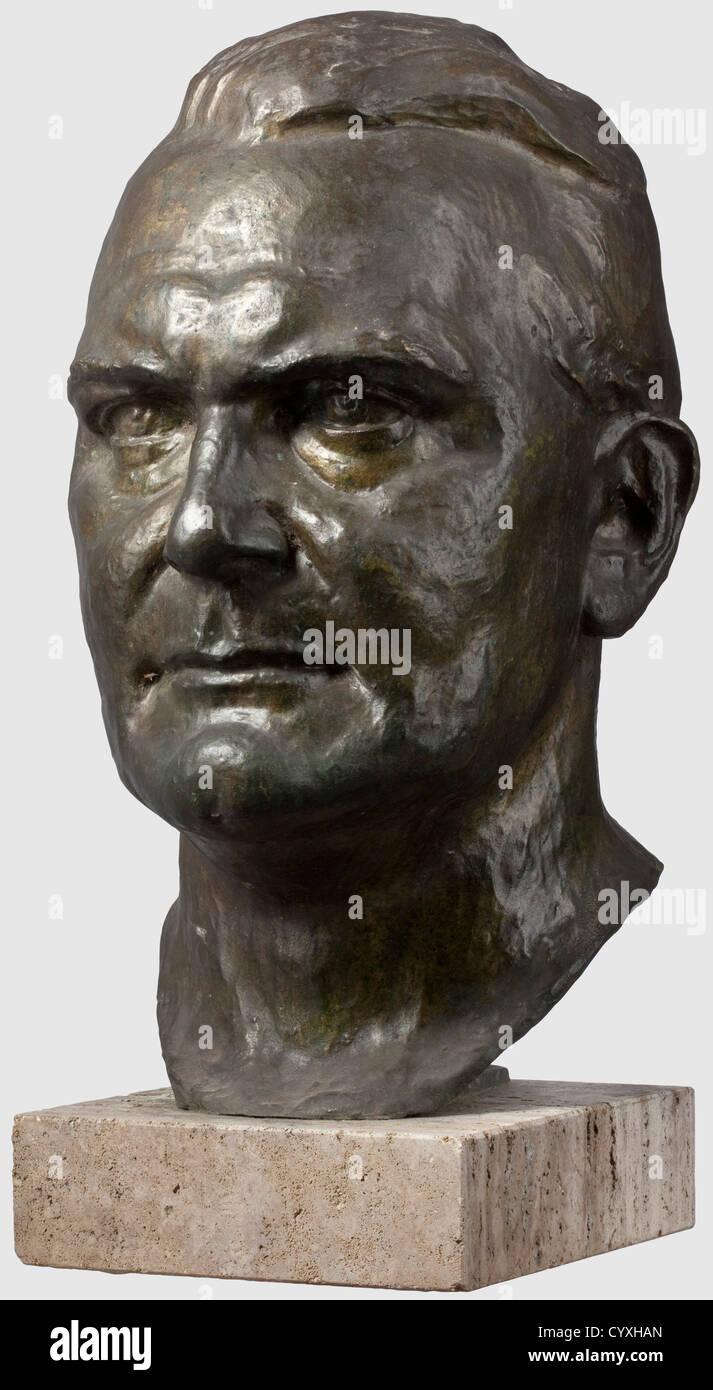 Erich Schmidt-Kestner (1877 - 1941), a larger than life-sized portrait head of Hermann Göring Dark patinated bronze, Stock Photo