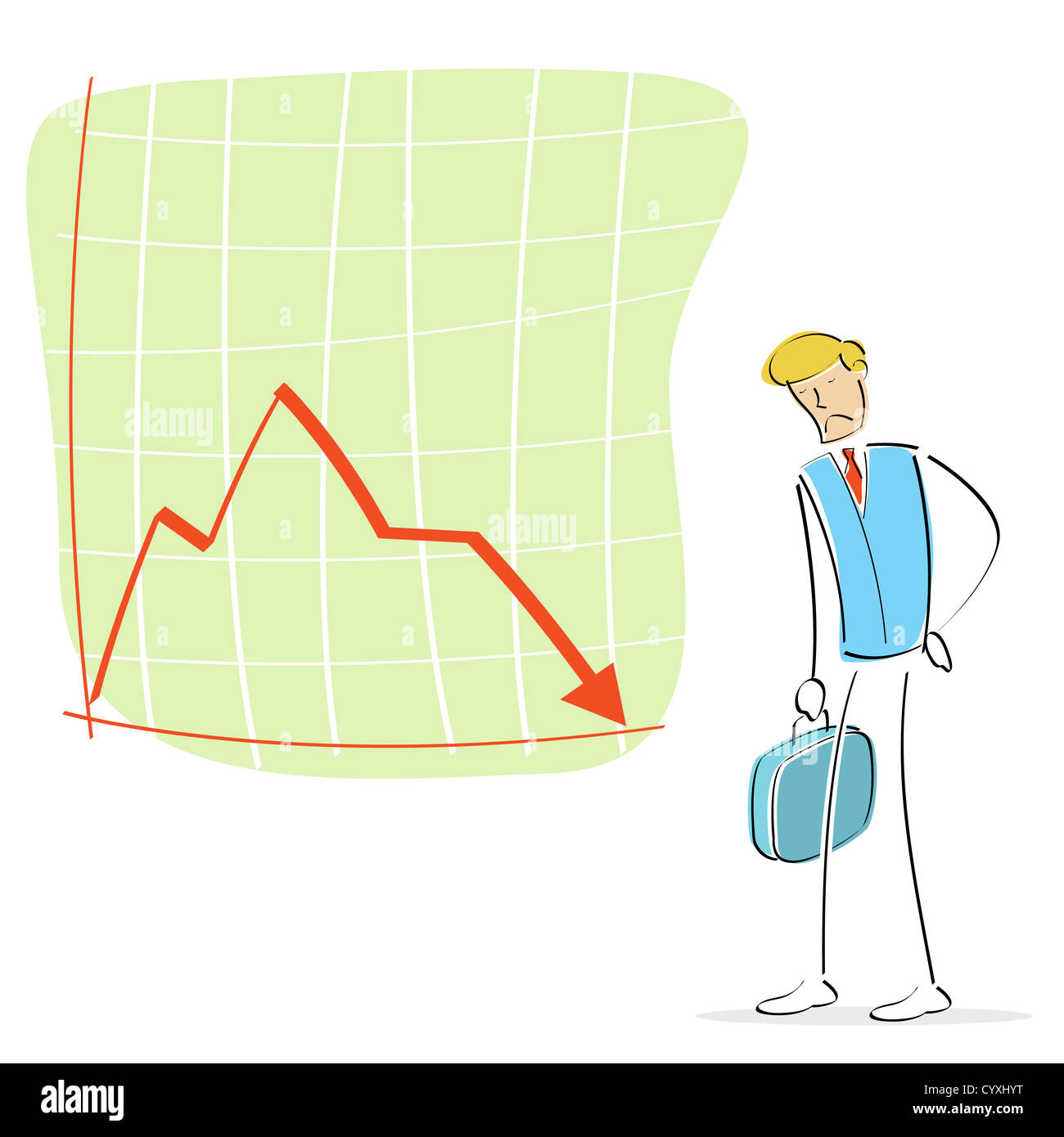 Illustration of an upset man looking at the declining arrow stock illustration of an upset man looking at the declining arrow ccuart Images