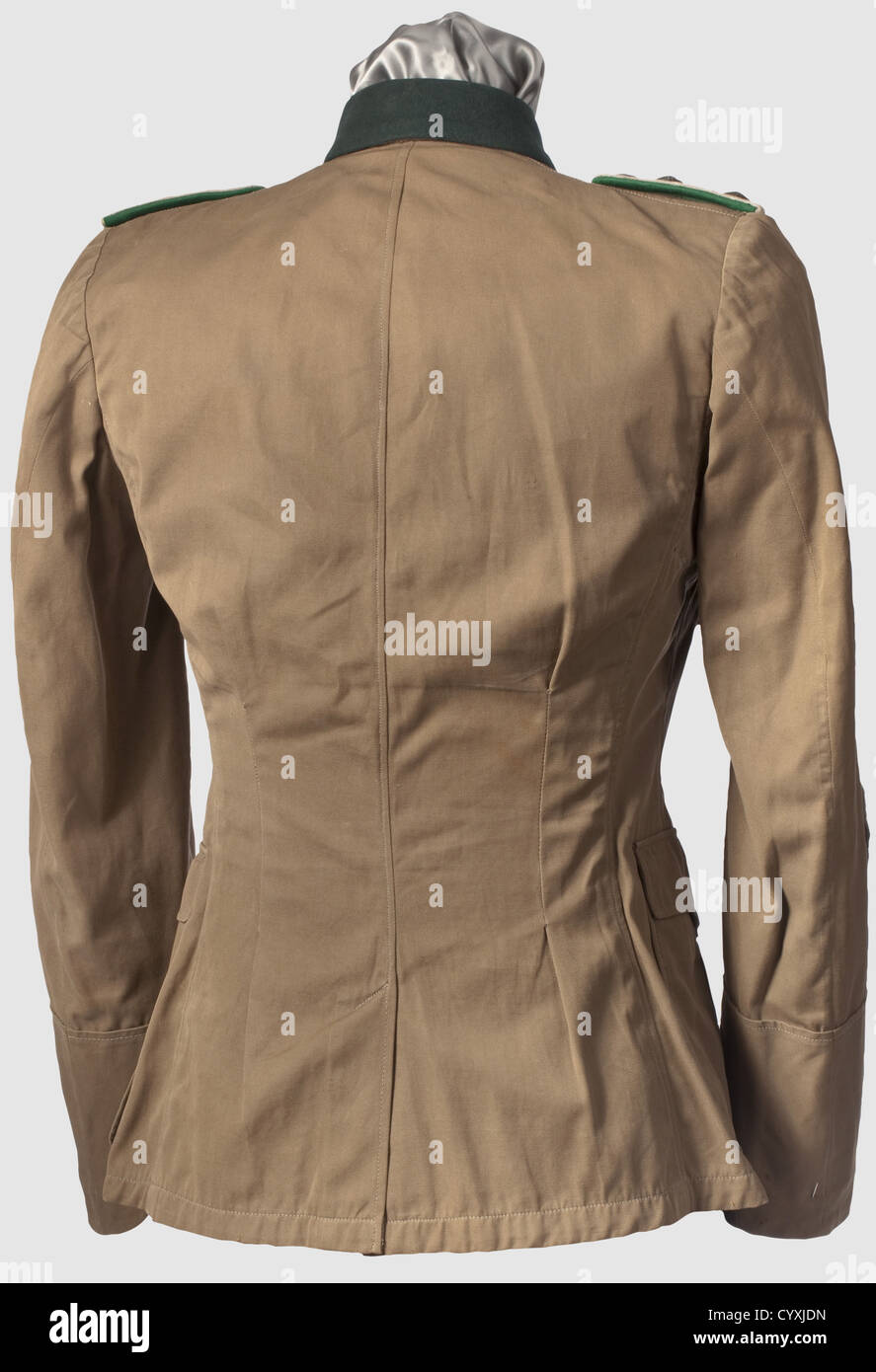 A sniper's summer field tunic, captain of the mountain corps with medals. Khaki coloured officer's tunic - Stock Image