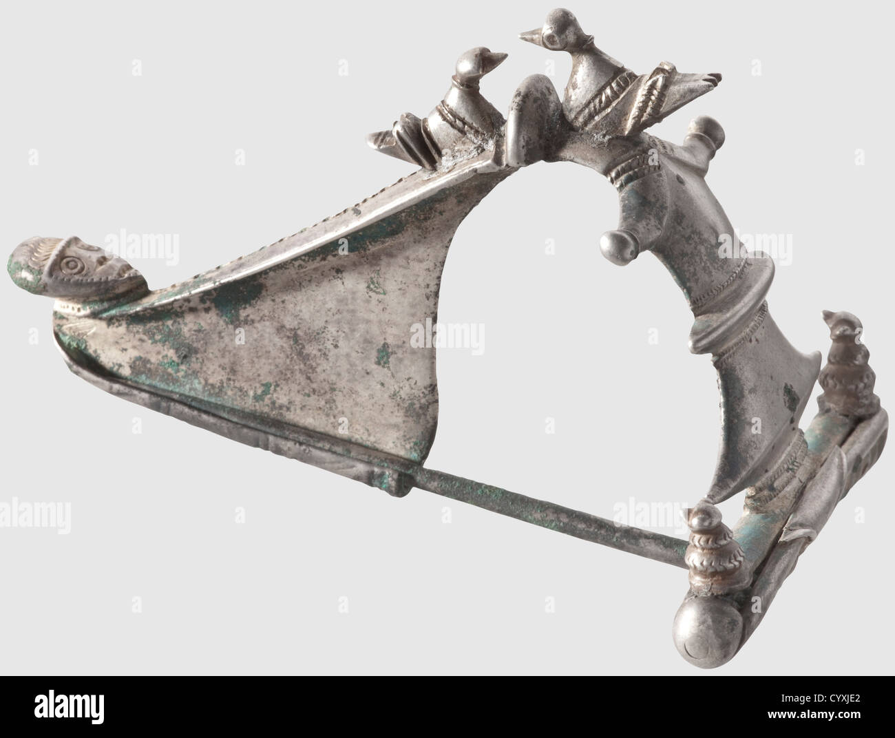 A Thracian fibula, 1st century AD. A silver, completely preserved fibula with a sculpted and figurative decorated - Stock Image