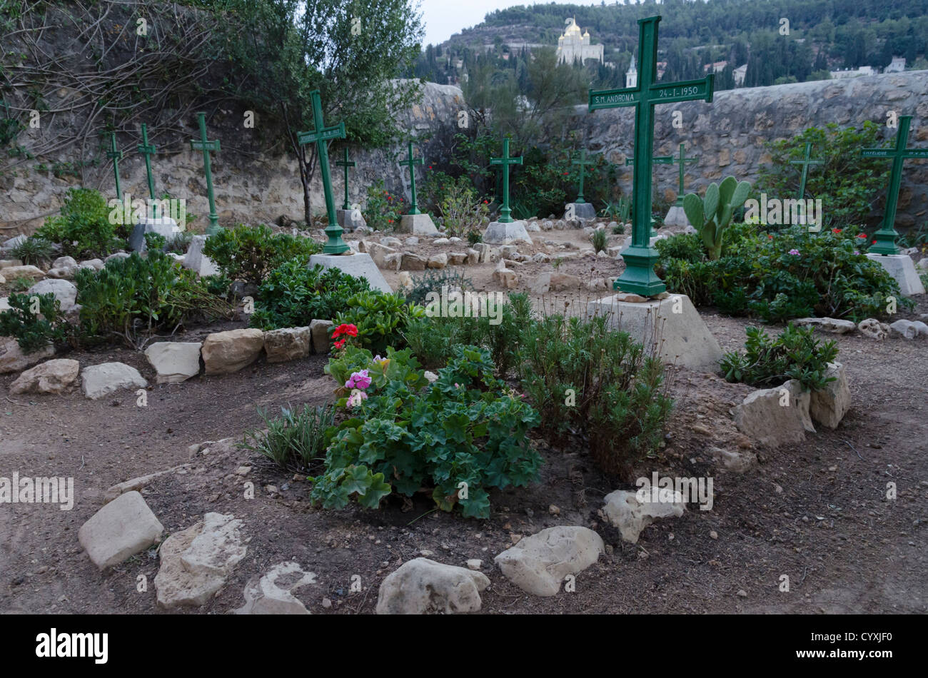 The cemetery at the monastery of les Seurs de Notre Dame de Sion Our Lady of Sion. Ein Karem. Jerusalem. Israel. - Stock Image