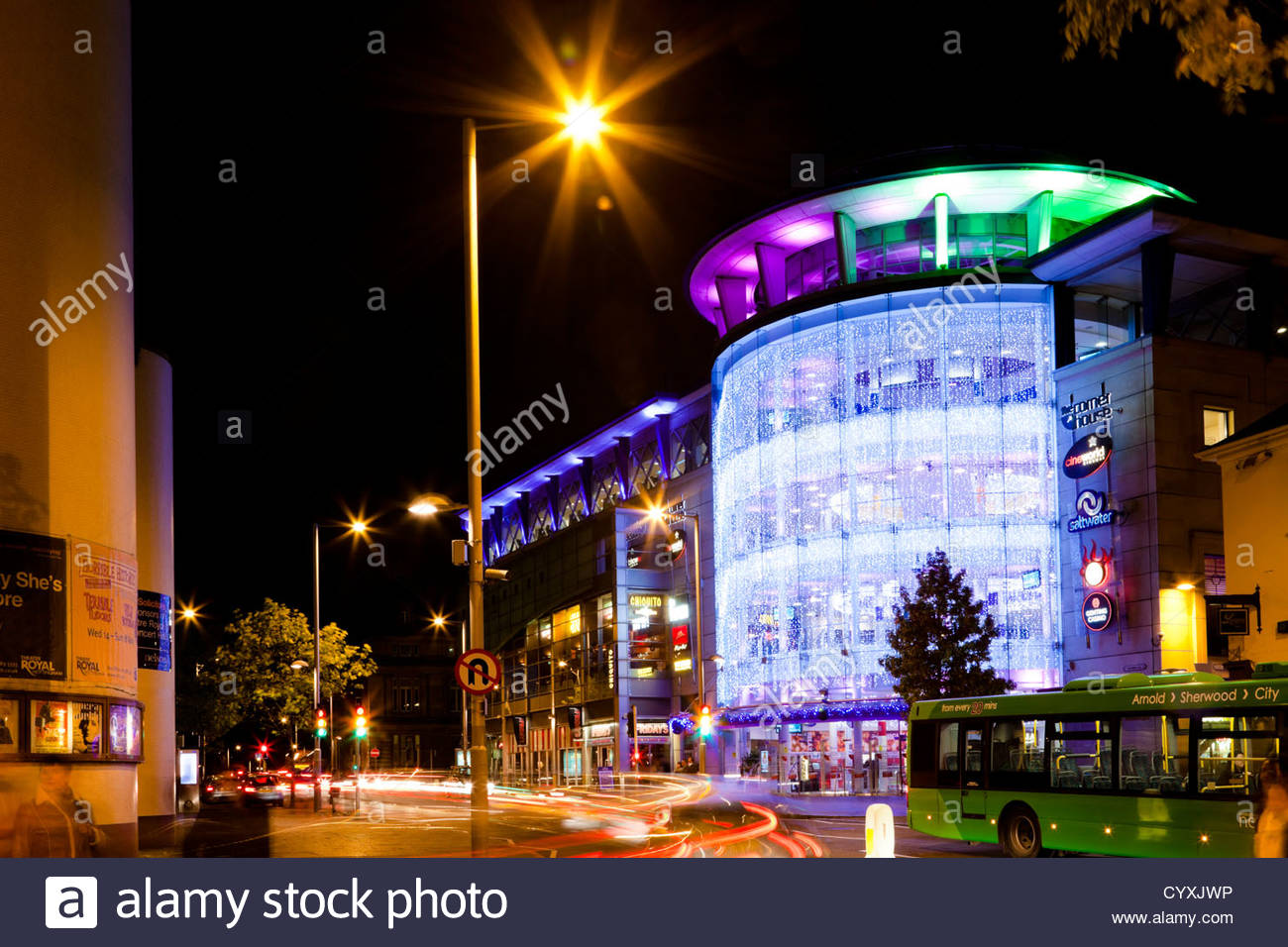 Corner House cinema with its lights on at night in Nottingham, England, UK - Stock Image