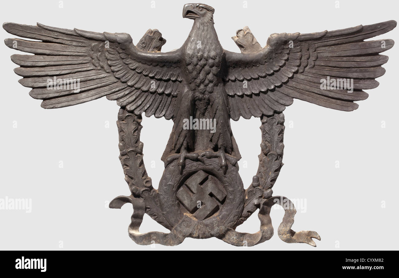 A large police eagle, for police stations A cast zinc hollow eagle, hollow-worked, with outspread wings in front - Stock Image