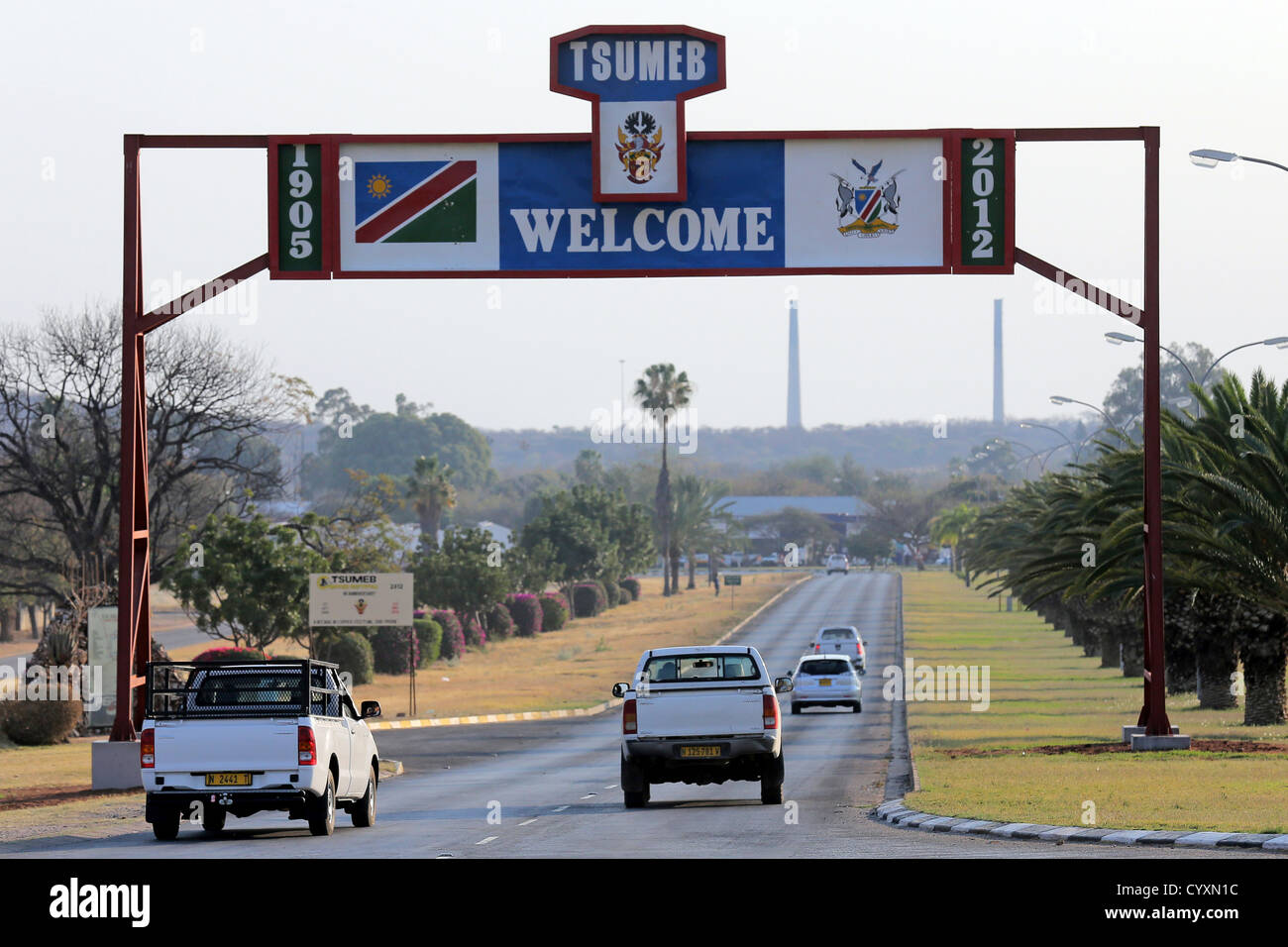 Town sign, entrance to the town Tsumeb, Namibia - Stock Image
