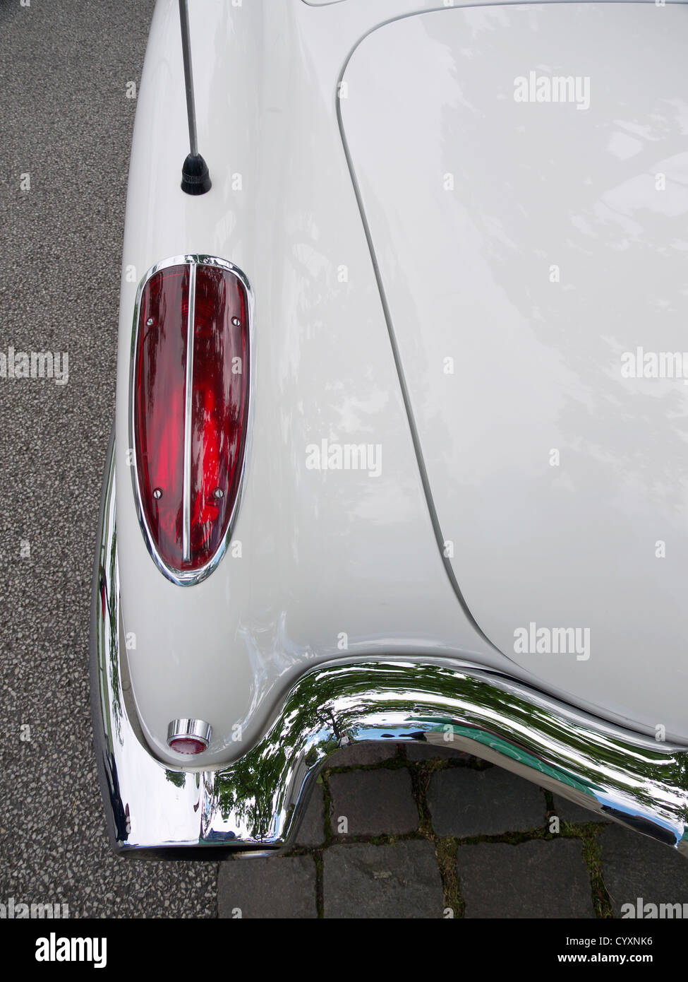 Taillight of white American Chevrolet Corvette veteran car Stock Photo