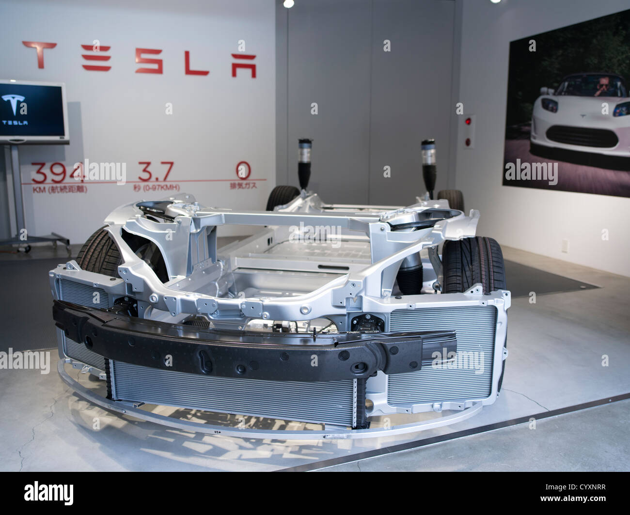 Tesla Roadster Battery electric vehicle with extruded Aluminum monocoque chassis and  lithium-ion battery cells - Stock Image