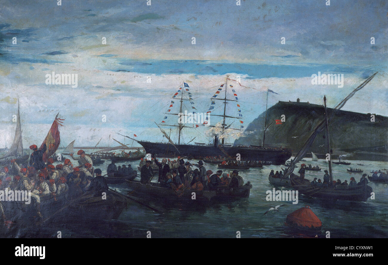 Ten Years War or Great War (1868-1878). The Embarkation of the Catalan Volunteers for the Cuban War in the Port - Stock Image