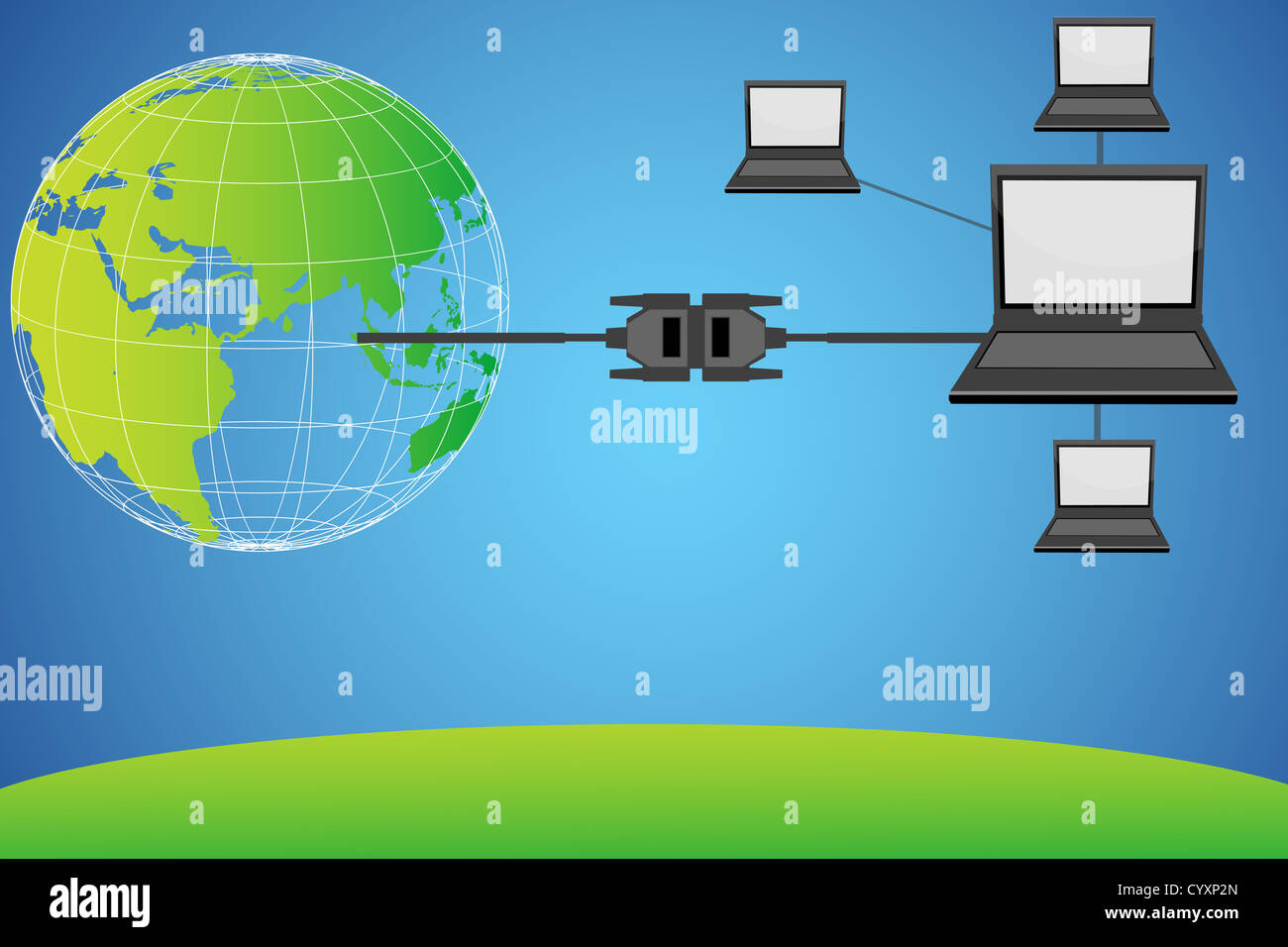 Illustration Of Laptops Connected With Globe Through Wire Stock Laptop Connections For Wiring Diagram
