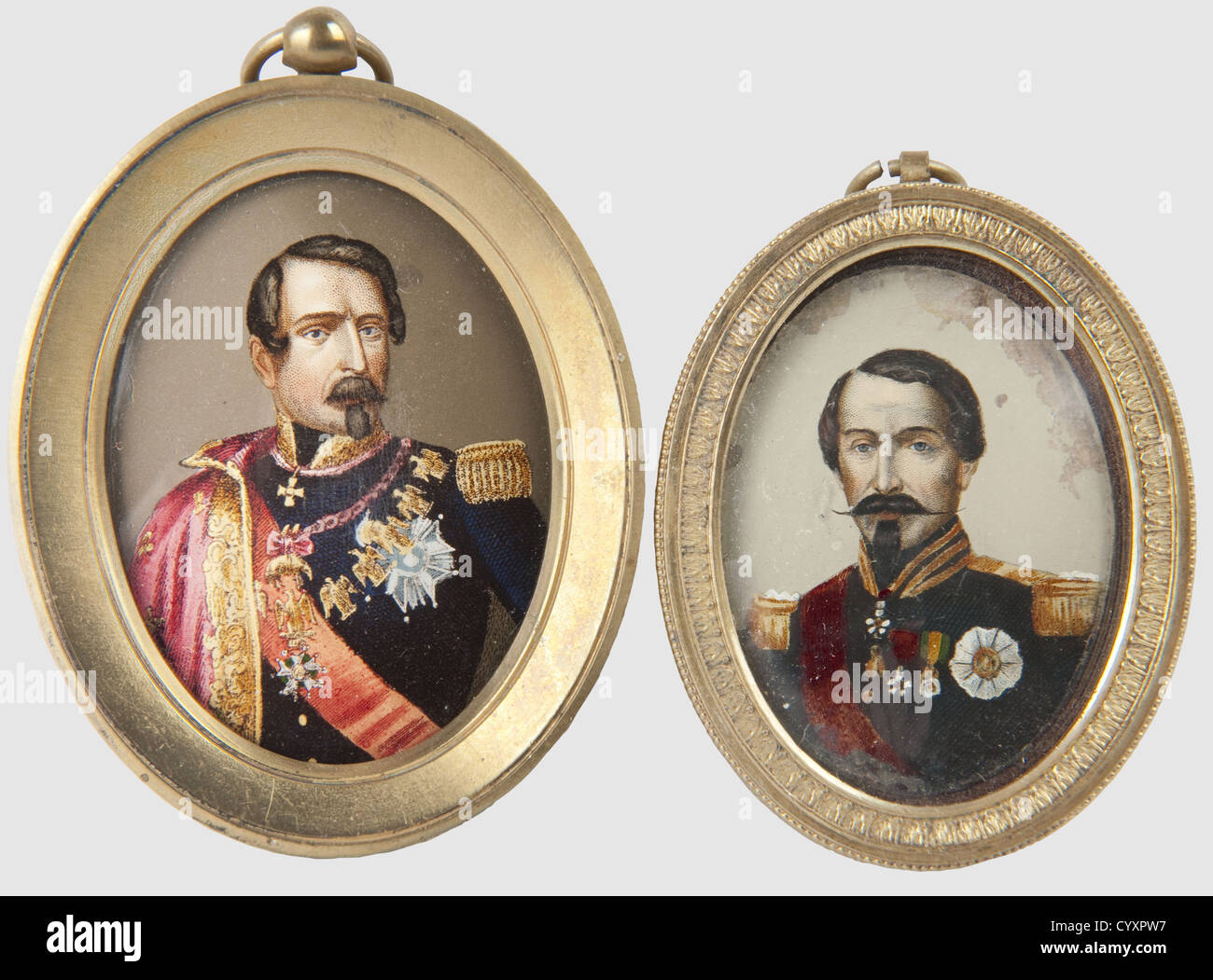 Two Miniature Portraits of Emperor Napoleon III, Paintings on copper. Chased gilded copper frame. Width 4.5 cm. - Stock Image