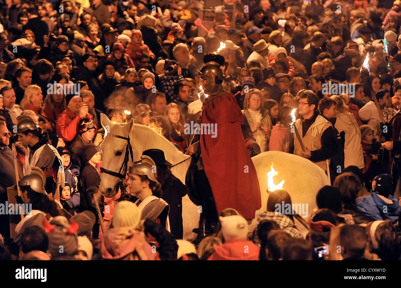 Saint Martin's procession celebrates the every years Day of Saint Martin in Jihlava, Czech Republic, November - Stock Image