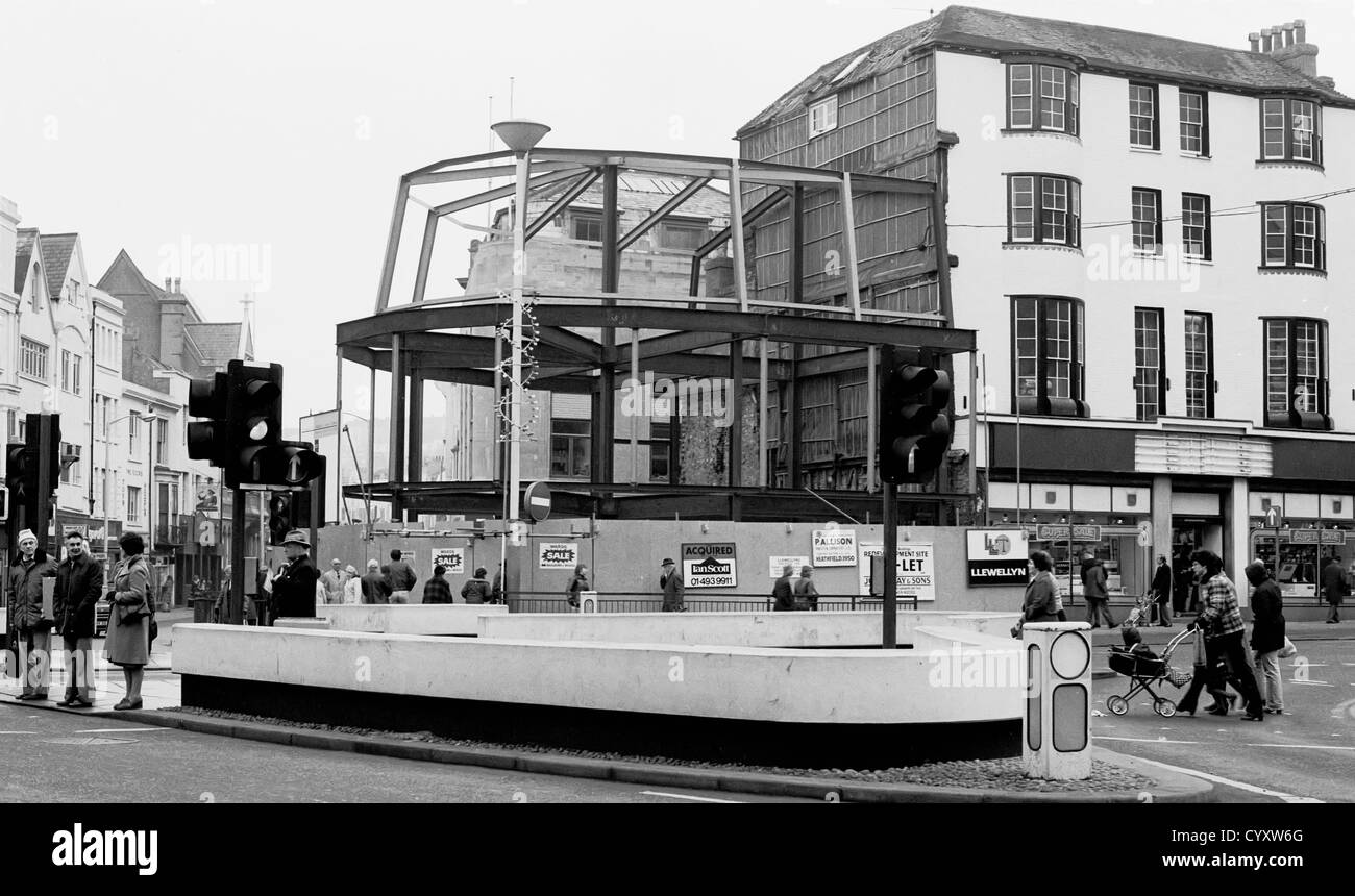 Hastings town centre in 1979 looking towards Castle street and Queens road. - Stock Image
