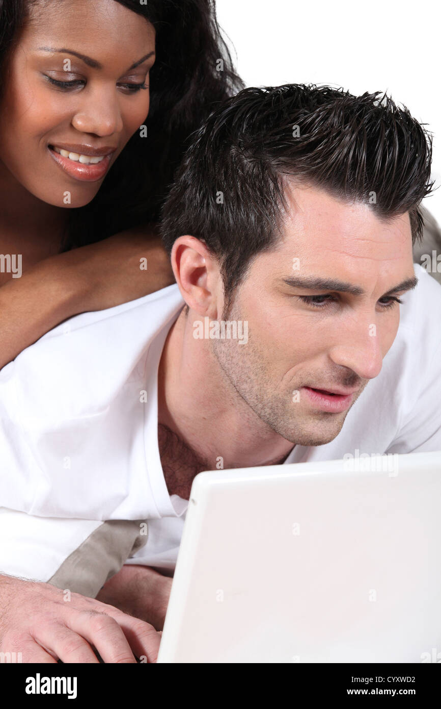 Husband ignoring his wife - Stock Image